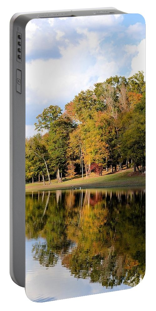 Lake House In Autumn Portable Battery Charger featuring the photograph Lake House In Autumn by Maria Urso