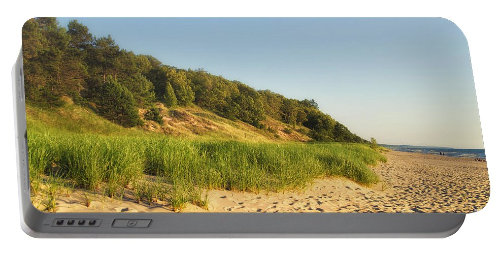 Lake Michigan Portable Battery Charger featuring the photograph Lake Michigan Dunes 01 by Thomas Woolworth