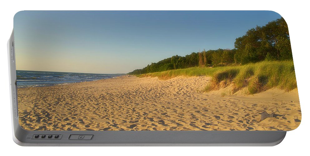 Lake Michigan Portable Battery Charger featuring the photograph Lake Michigan Dunes 03 by Thomas Woolworth