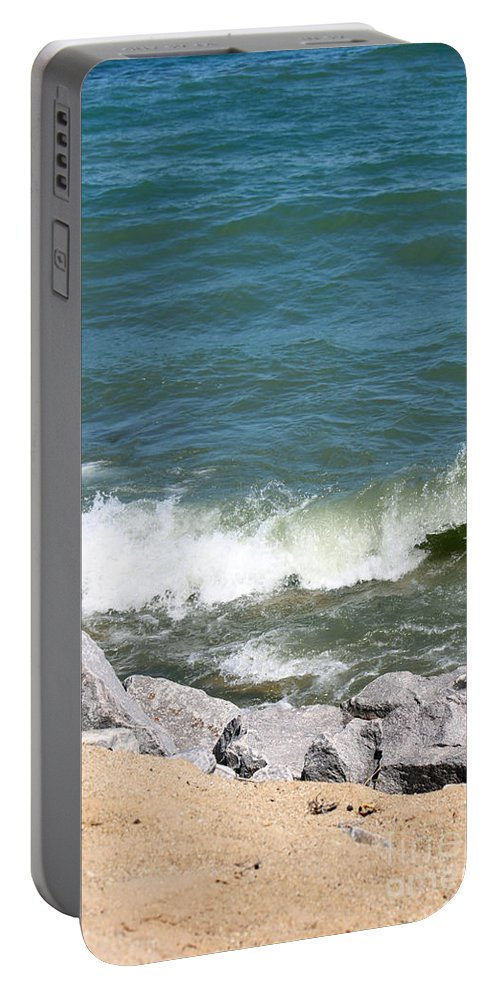 Winthrop Harbor Portable Battery Charger featuring the photograph Lake Michigan Shore by Debbie Hart