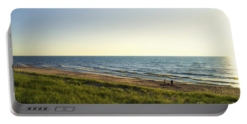 Lake Michigan Portable Battery Charger featuring the photograph Lake Michigan Shoreline 01 by Thomas Woolworth