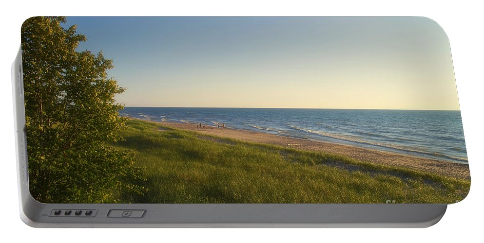 Lake Michigan Portable Battery Charger featuring the photograph Lake Michigan Shoreline 05 by Thomas Woolworth