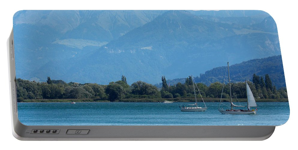 Alps Portable Battery Charger featuring the photograph Lake Of Constance by Nick Biemans