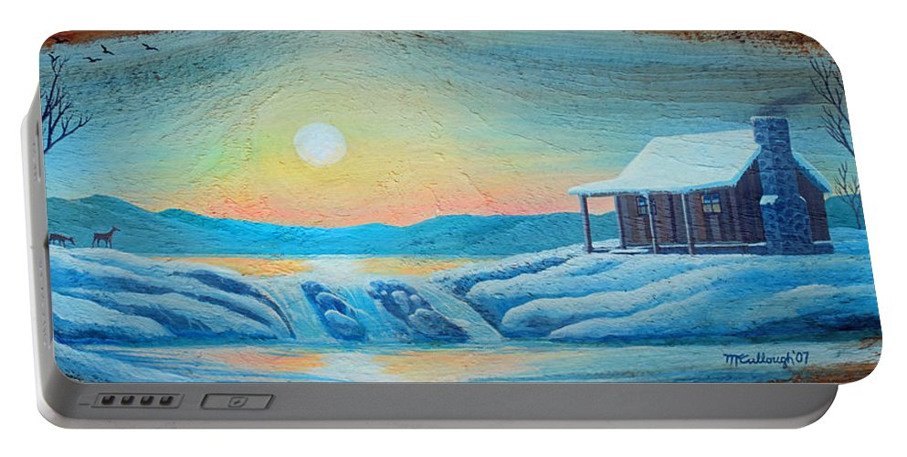 Duane Mccullough Portable Battery Charger featuring the painting Lake Sunrise And The Old Cabin by Duane McCullough
