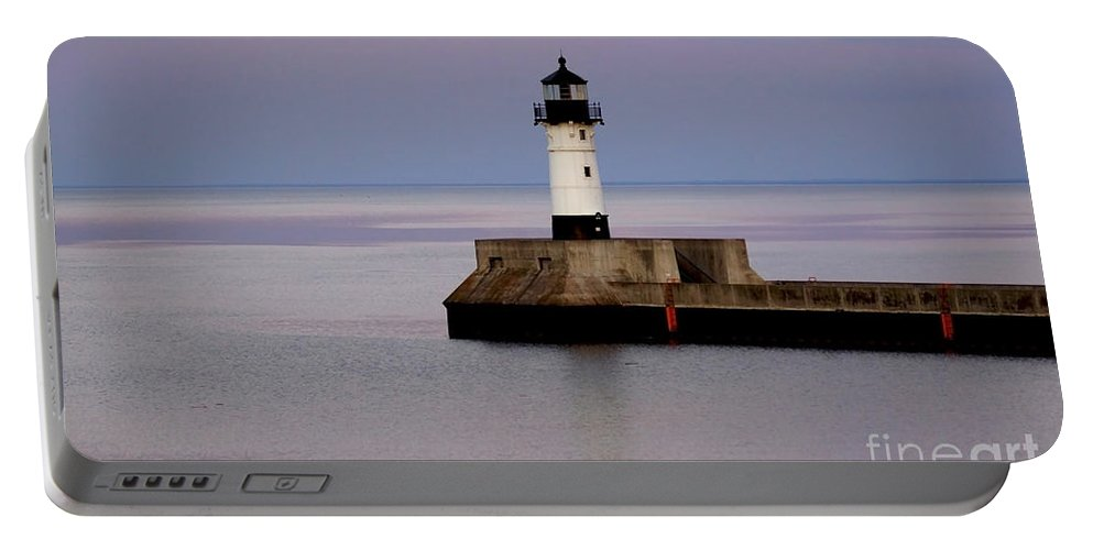 Lighthouse Portable Battery Charger featuring the photograph Lake Superior Lighthouse by Lori Tordsen
