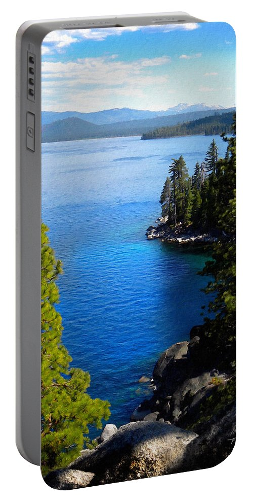 Lake Tahoe Portable Battery Charger featuring the photograph Lake Tahoe From The Rubicon Trail by Frank Wilson