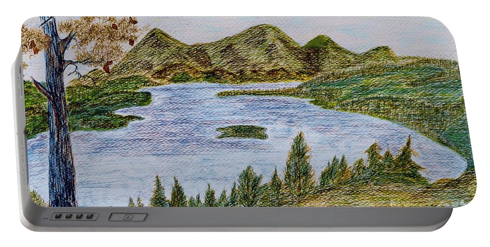 Landscape - Lake Tahoe Ca - Drawing Waterscape Scenery Trees Mountains Pine Tree; Black Brown Green Blue Orange Yellow Island Pinecones; Watercolor Ink Bushes; Mixed Media Portable Battery Charger featuring the painting Lake Tahoe by Myrtle Joy