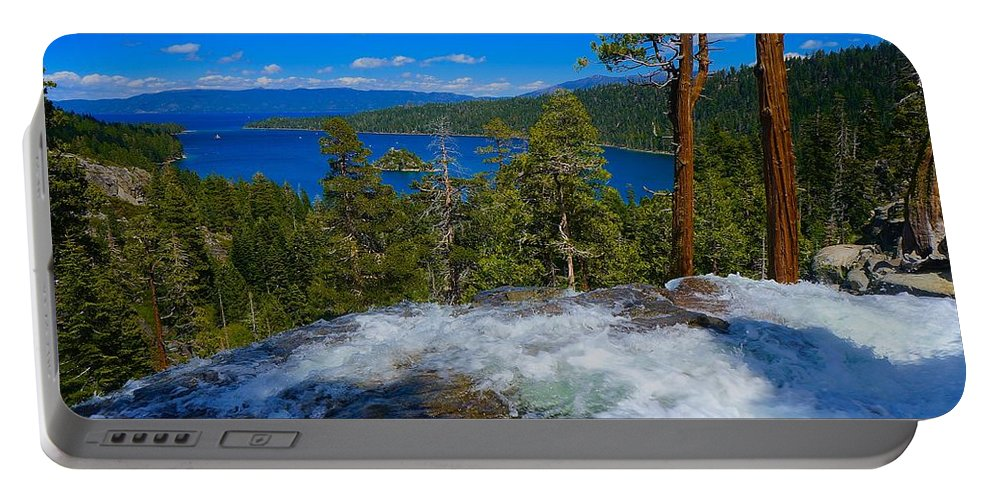 Western Portable Battery Charger featuring the photograph Lake Tahoe Waterfall by Tim G Ross