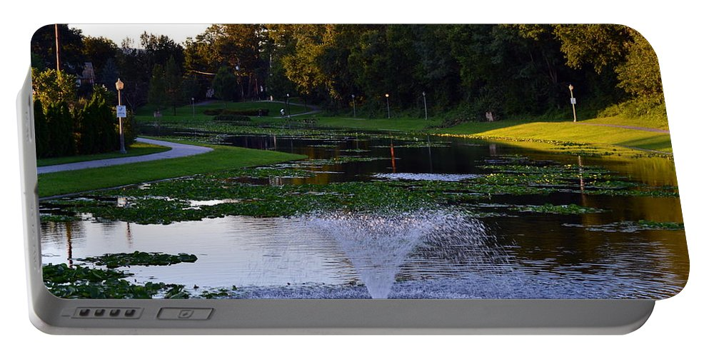 Lake With Fountain. Trees Portable Battery Charger featuring the photograph Lake With Fountain by Rachid Hatni