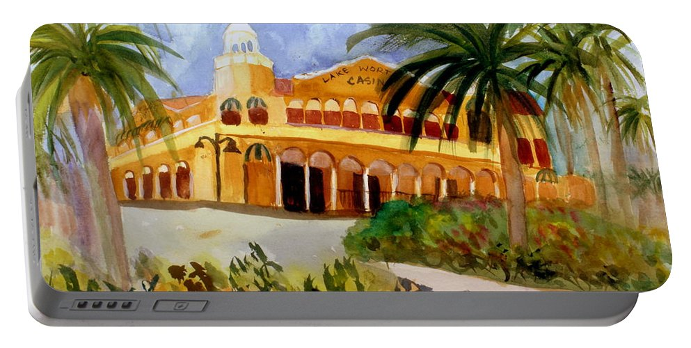 Art Portable Battery Charger featuring the painting Lake Worth Casino by Donna Walsh