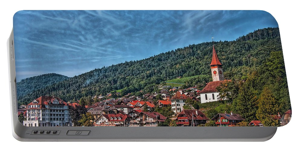 Switzerland Portable Battery Charger featuring the photograph Lakefront Provincial Town by Hanny Heim