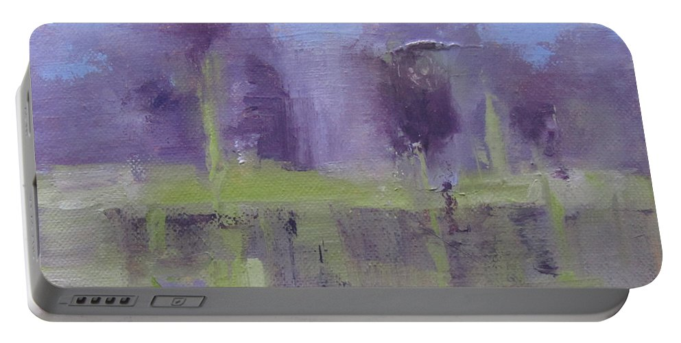 Nature Portable Battery Charger featuring the painting Lakeside by Barbara Andolsek