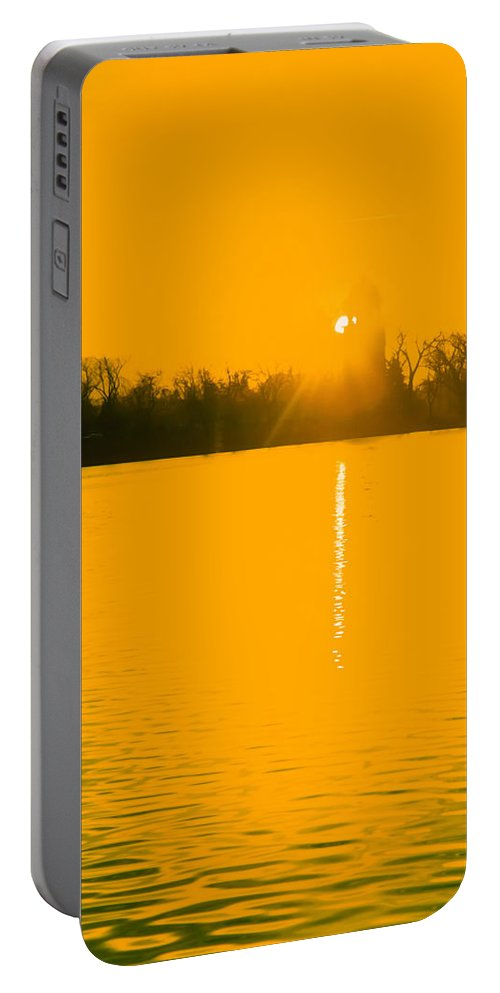 Infrared Film Portable Battery Charger featuring the photograph Lakeside Tower by Robert VanDerWal