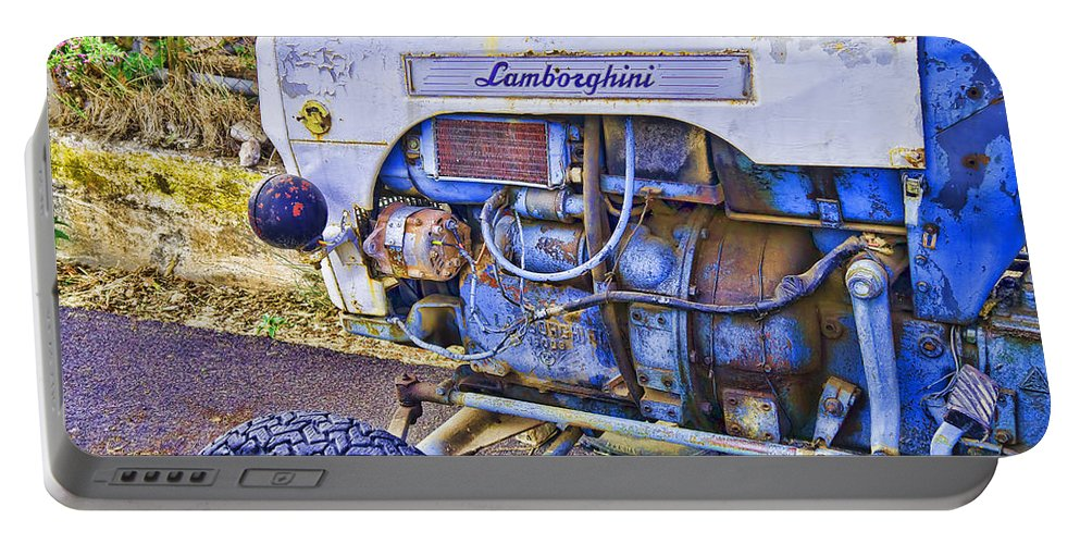 Lamborghini Portable Battery Charger featuring the photograph Lamborghini Classic Tractor by Gillian Singleton