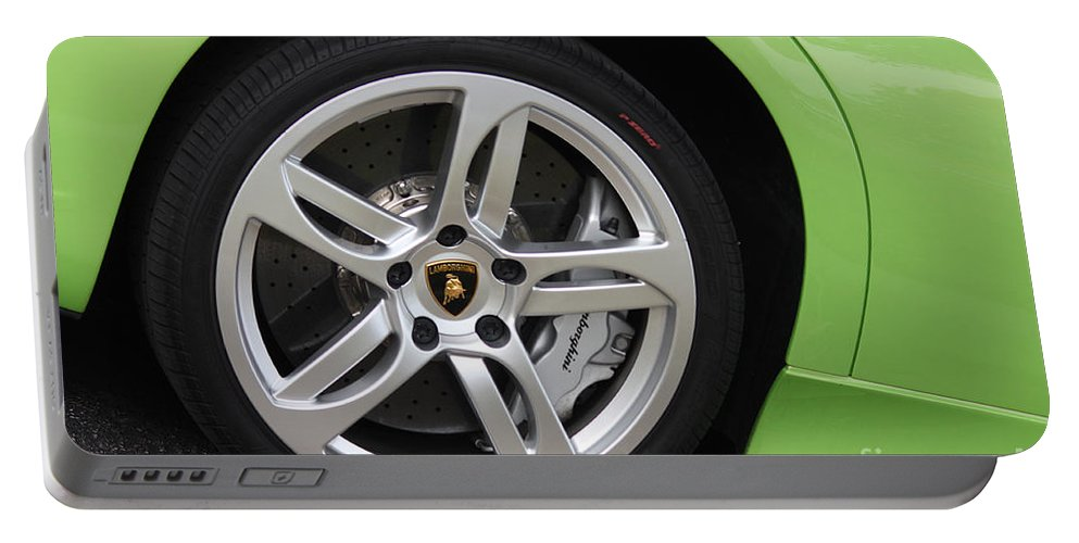 Lamborghini Portable Battery Charger featuring the photograph Lambowheel8680 by Gary Gingrich Galleries