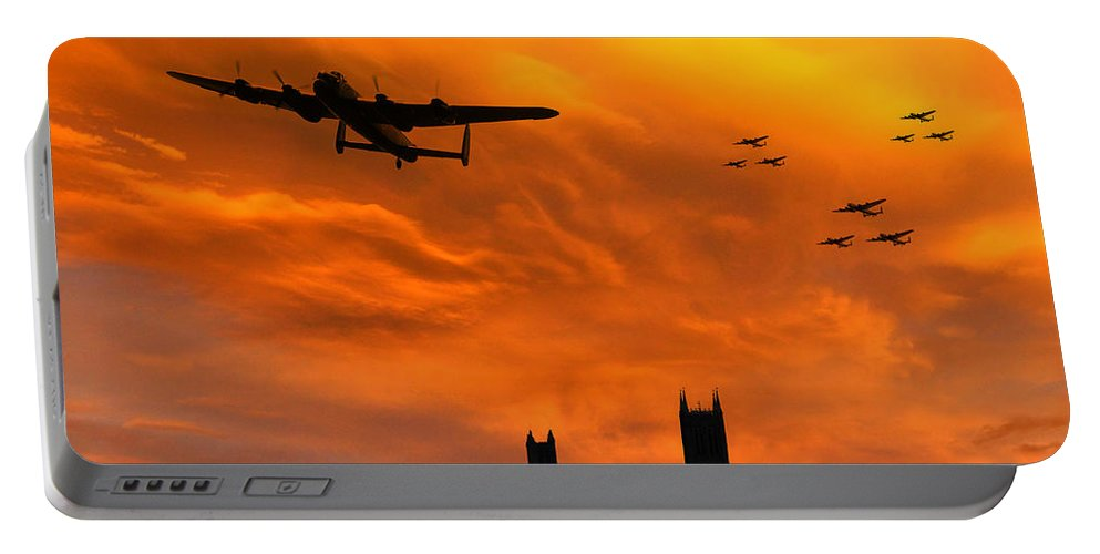 Avro Lancaster Lincoln Portable Battery Charger featuring the digital art Lancaster Lincoln Sunset by J Biggadike