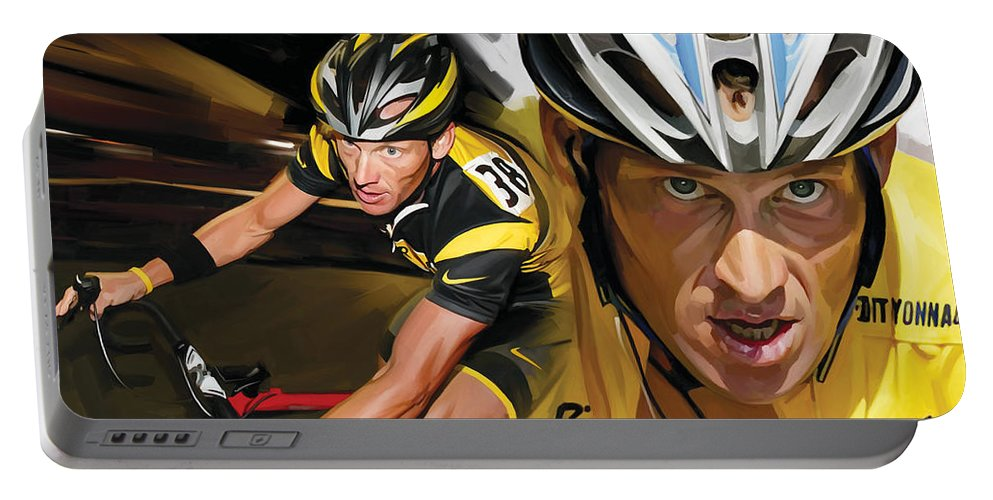 Lance Armstrong Portable Battery Charger featuring the painting Lance Armstrong Artwork by Sheraz A