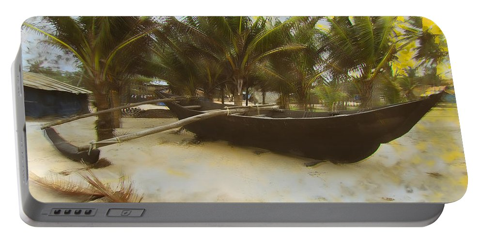 Kayak On Beach Portable Battery Charger featuring the digital art Kayak On Beach by KJ DePace