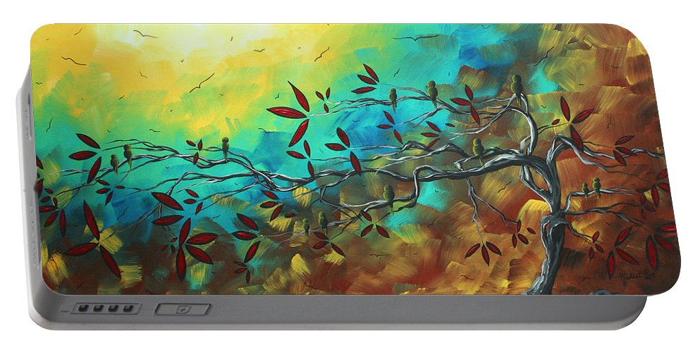 Abstract Portable Battery Charger featuring the painting Landscape Bird Original Painting Family Time By Madart by Megan Duncanson