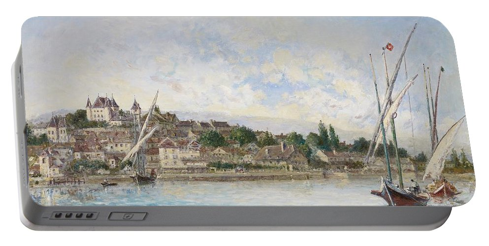 Boat Portable Battery Charger featuring the painting Landscape From Lake Leman To Nyon by Johan Barthold Jongkind