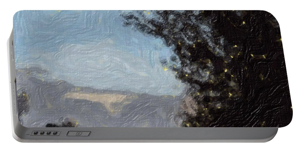 Landscape Portable Battery Charger featuring the painting Landscape Of Fall by Sergey Bezhinets