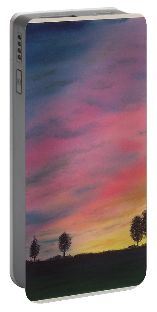 Japan Portable Battery Charger featuring the painting Landscape Sunset In Memenbetsu Cho Japan by Gianluca Cremonesi
