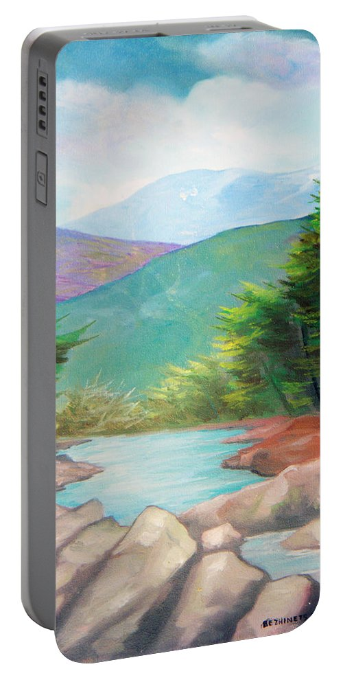Bayou Portable Battery Charger featuring the painting Landscape With A Creek by Sergey Bezhinets