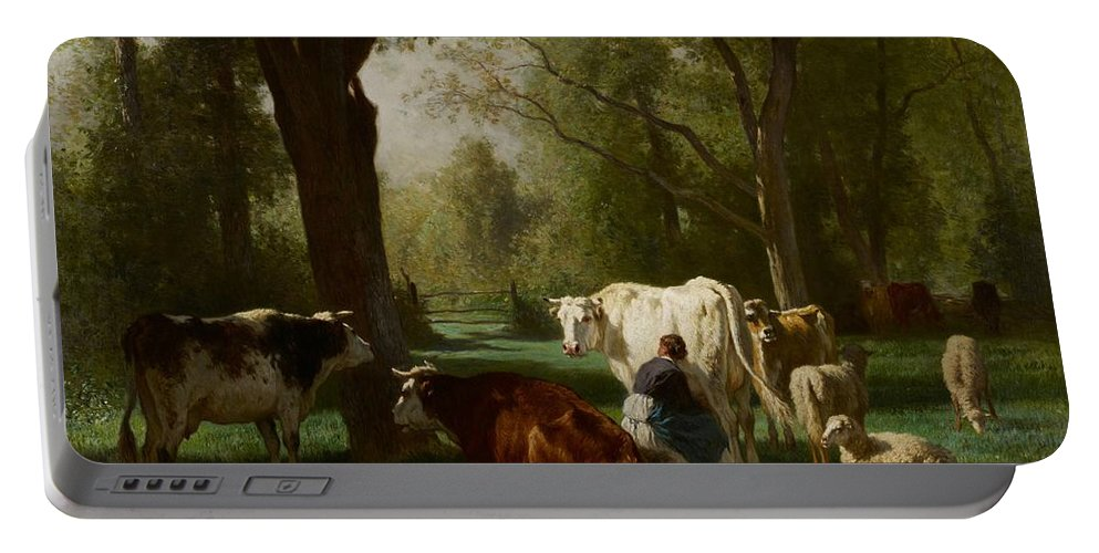 Milkmaid Portable Battery Charger featuring the painting Landscape With Cattle And Sheep by Constant Emile Troyon