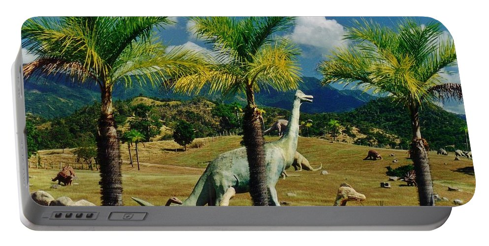 Landscape With Dinosaurs Portable Battery Charger featuring the photograph Landscape With Dinosaurs by John Malone