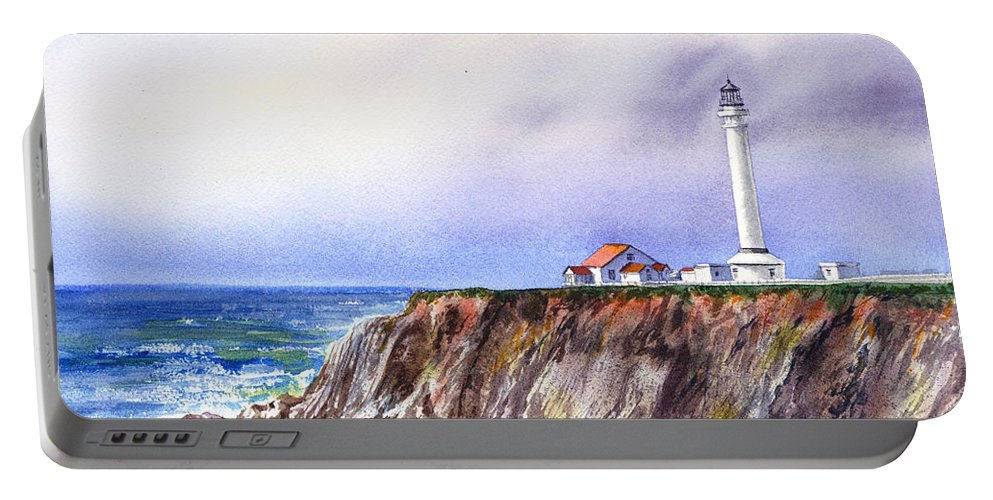 Lighthouse Portable Battery Charger featuring the painting Lighthouse Point Arena California by Irina Sztukowski