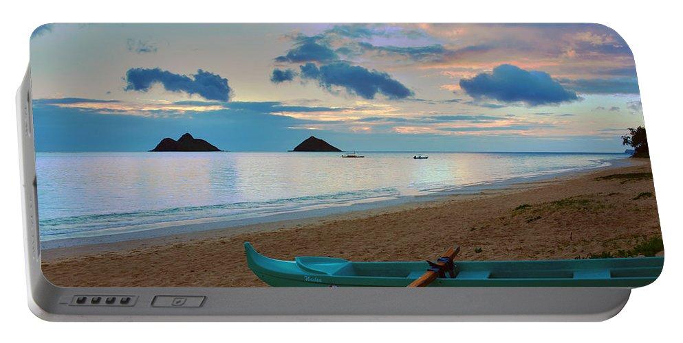 Lanikai Kailua Oahu Hawaii Beach Park Sunrise Seascape Outrigger Boat Portable Battery Charger featuring the photograph Lanikai Beach Sunrise 6 - Kailua Oahu Hawaii by Brian Harig