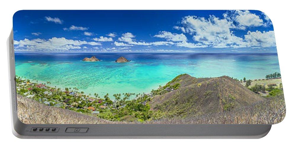 Lanikai Beach Portable Battery Charger featuring the photograph Lanikai Bellows And Waimanalo Beaches Panorama by Aloha Art