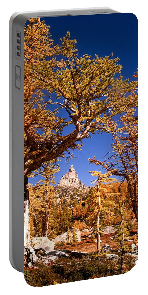 Alpine Lakes Wilderness Portable Battery Charger featuring the photograph Larch Trees Frame Prusik Peak by Tracy Knauer