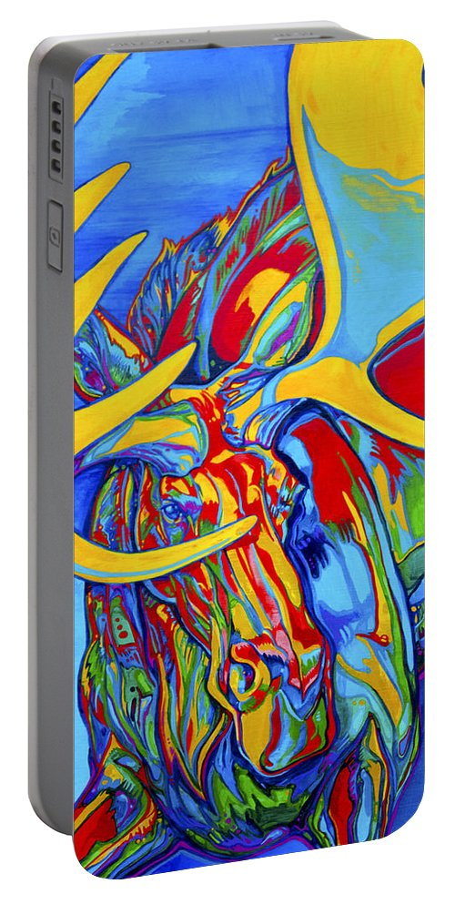 Wildlife Paintings Portable Battery Charger featuring the painting Large Moose by Derrick Higgins