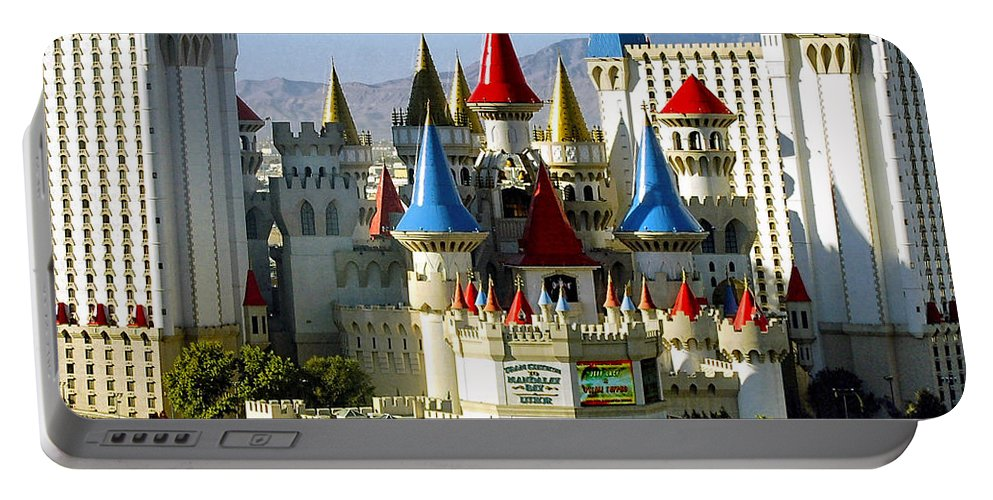 Las Vegas Portable Battery Charger featuring the photograph Las Vegas - Excalibur Hotel by Jon Berghoff