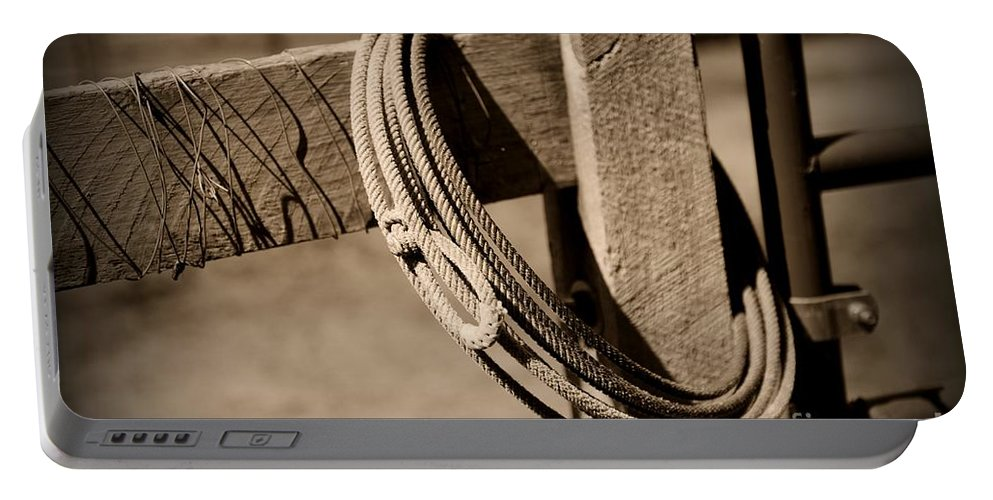 Paul Ward Portable Battery Charger featuring the photograph Lasso On Fence Post Rustic by Paul Ward