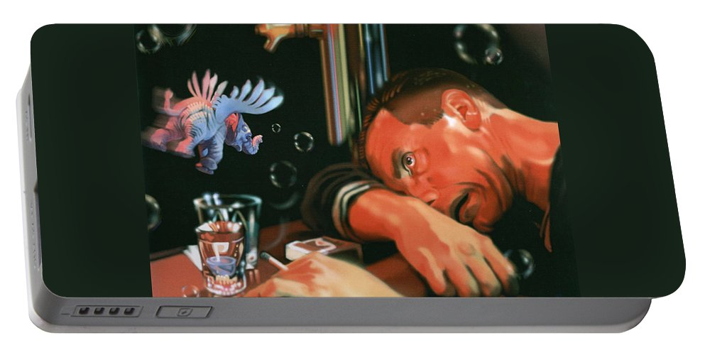 Booze Portable Battery Charger featuring the digital art Last Call by Timothy Loyd