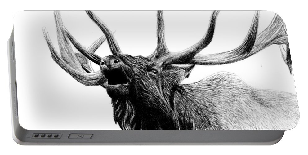 Elk Portable Battery Charger featuring the drawing Last Cry by Kayleigh Semeniuk