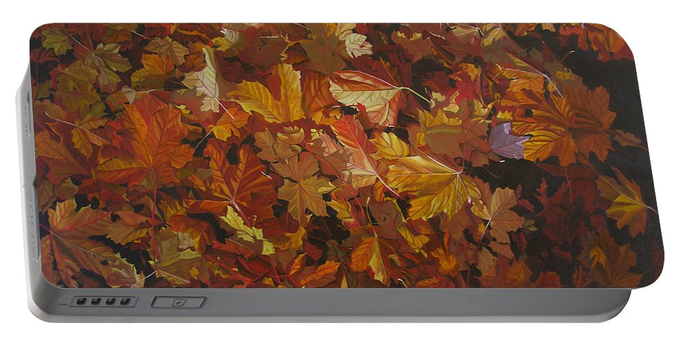 Fall Portable Battery Charger featuring the painting Last Fall In Monroe by Thu Nguyen