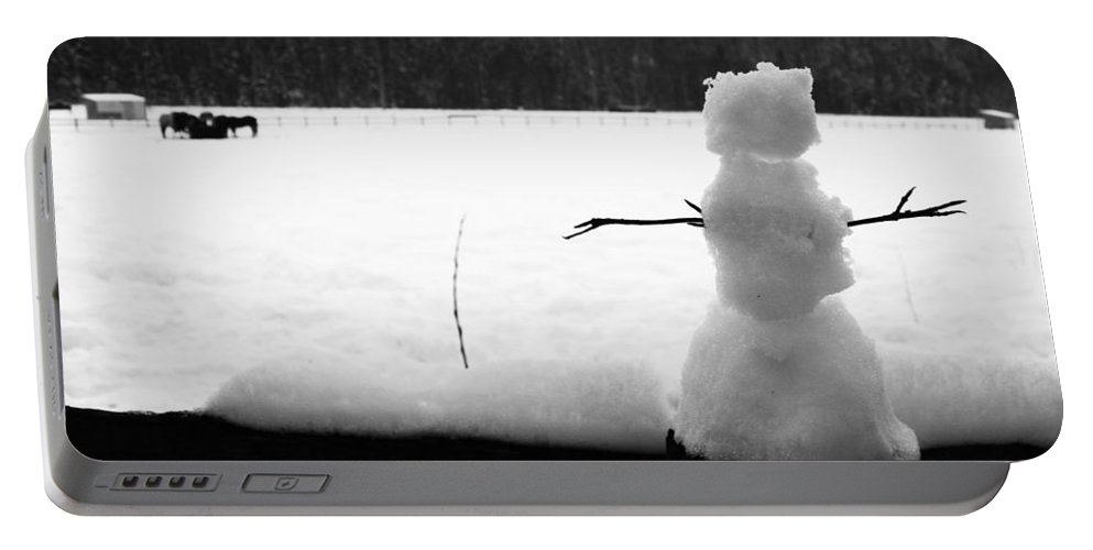 Snowman Portable Battery Charger featuring the photograph Last Of The Frozen Men by The Artist Project