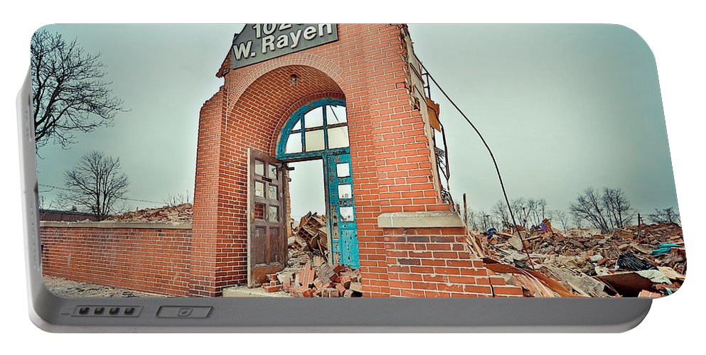 Youngstown Ohio Urban School Brick Urbanx Taaffe 1025 West Rayan Teacher Book Old Creepy Portable Battery Charger featuring the photograph Last Stand by Jimmy Taaffe