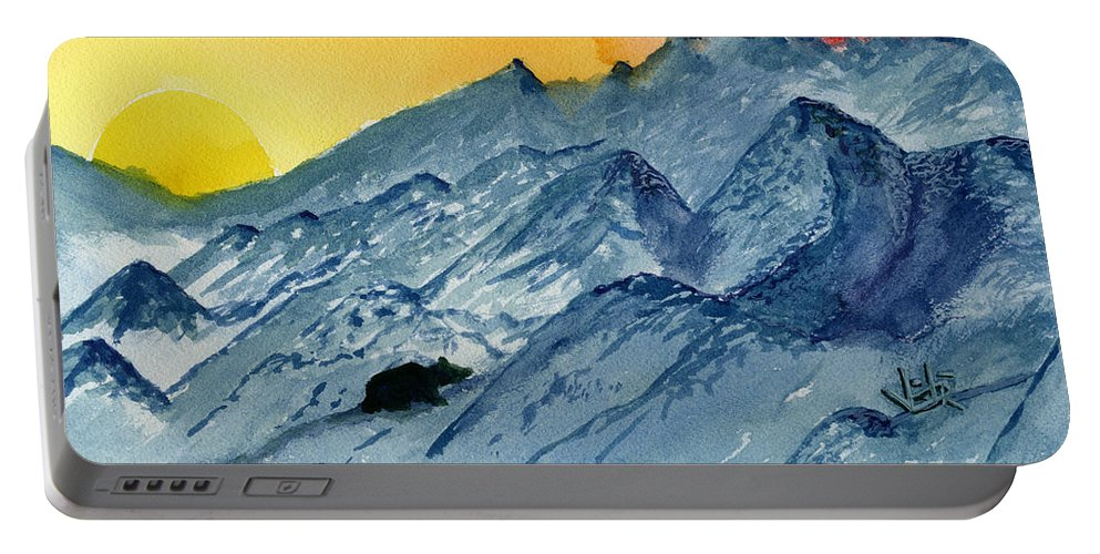 Mountains Portable Battery Charger featuring the painting Lasting Light II by Victor Vosen