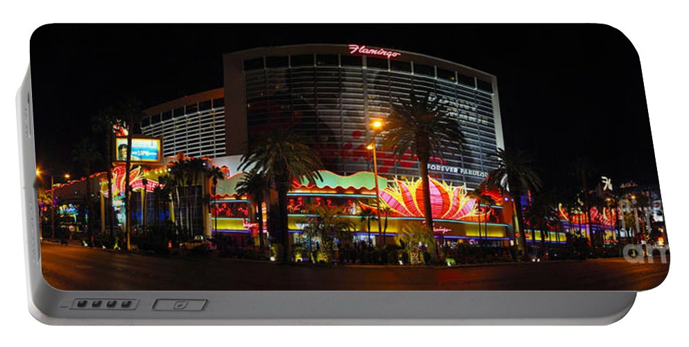 Las Vegas Portable Battery Charger featuring the photograph Las Vegas - The Flamingo Panoramic by Randy Smith