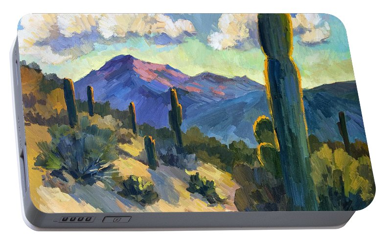 Late Afternoon Portable Battery Charger featuring the painting Late Afternoon Tucson by Diane McClary