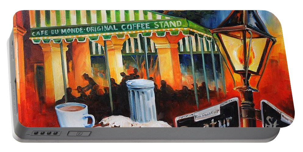New Orleans Portable Battery Charger featuring the painting Late At Cafe Du Monde by Diane Millsap