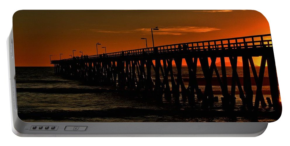 Port Hueneme Portable Battery Charger featuring the photograph Late Fishing by Michael Gordon