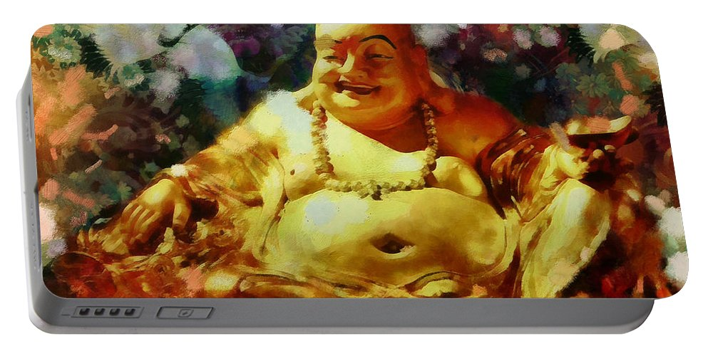 Buddha Portable Battery Charger featuring the painting Laughing Buddha by Janice MacLellan