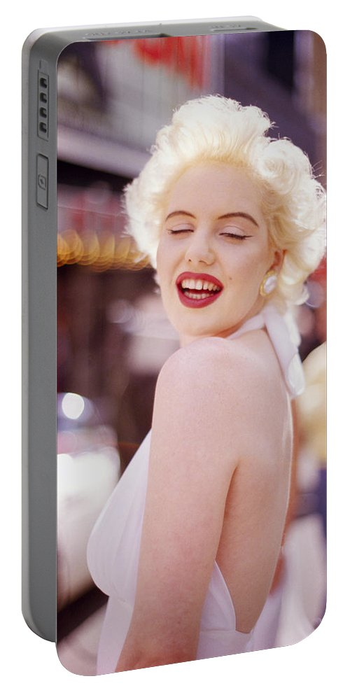 Marilyn Monroe Portable Battery Charger featuring the photograph Laughter Of Marilyn by Shaun Higson