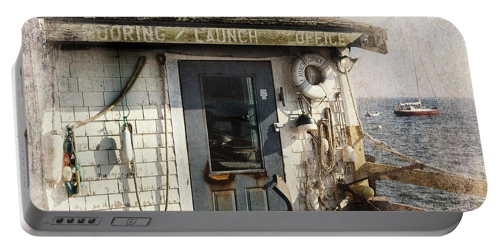 Texture Portable Battery Charger featuring the photograph Launch Office Mcmillian Wharf Provincetown by Bill Wakeley