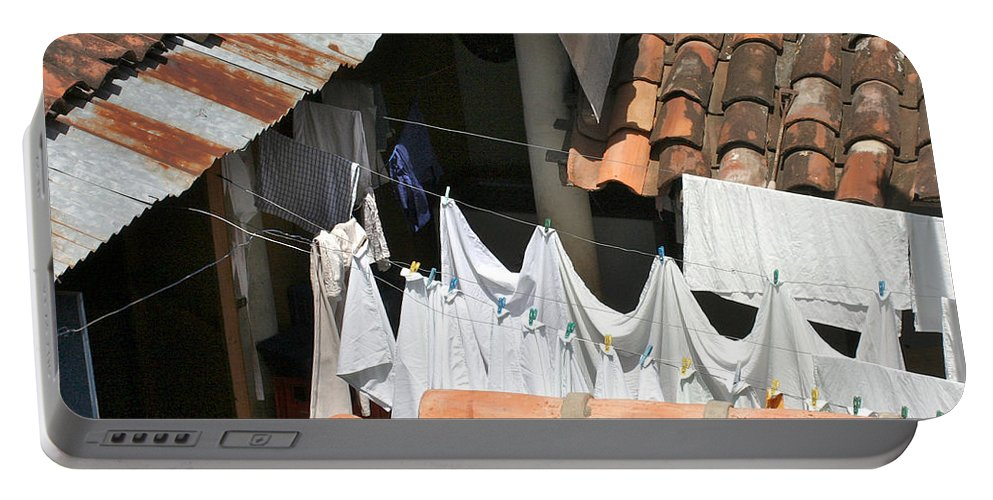Laundry Portable Battery Charger featuring the photograph Laundry by David Beebe